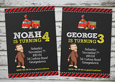 Curious George Party invitation printable with free matching Thank You card