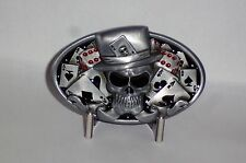 Skull & Cards  Metal Belt Buckle