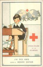 Belgian Red Cross - Boy at School Desk Maggie Salzedo Poster Art Postcard