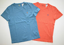 New Men's Polo Ralph Lauren Lot of 2 T-shirt, V-Neck, Blue, Orange, M, Medium