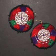 Matched PAIR BellyDance GUL Kuchi Tribal BEADED Medallions (XS) 838k5