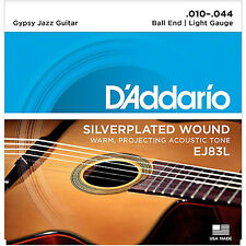 D'Addario EJ83L Gypsy Jazz Acoustic Guitar Strings 10-44 Light gauge ball end