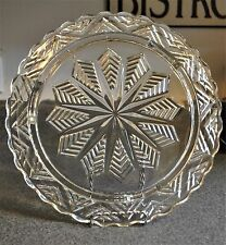 "Vintage Federal Glass Three Footed Glass Cake Plate, 11"" Snowflake Design"