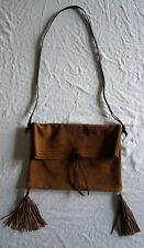 ~$825 GIADA FORTE BROWN SUEDE FRINGE TASSEL SHOULDER BAG (BOHO LUXE!) ~