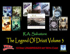 R.A. Salvatore THE LEGEND OF DRIZZT Volume #3 ~ MP3 CD 10 Disc Set ~ UNABRIDGED