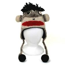SOCK MONKEY ANIMAL HAT ADULT Ski Snowboard Warm Wool Knit Laplander Lined Cap