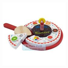 Wooden Party Fruit Cake Birthday Cake w Candle Pretend and Play Girl & Boy Toy