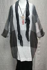 "!REDUCED! MASAI Plaid Cotton Tunic Sizes 20 22+ PLUS SIZE 58""Bust GREY BEIGE XL"