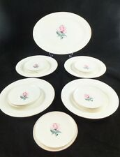 Vintage 1940's 15 Piece Eastern China 22K Gold Pink Rose Plates and Platter