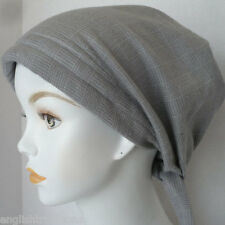 Soft Gray Plaid Flannel Alopecia Cancer Hat Chemo Hairloss Scarf Turban Headwrap