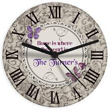Retro Mariposa Personalizado De Vidrio De Reloj De Pared-Cumpleaños, Regalo De Bodas Casa Nueva