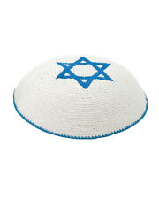 Blue White Star Of David Knitted Yarmulke Kippah 16 cm Cupples Jewish Kippa Hat
