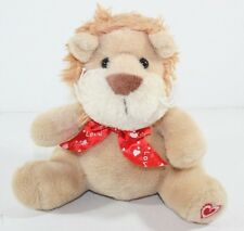 "Plush Stuffed Lion Cub Valentine Hear bow Heart on foot 7"" Lovey"