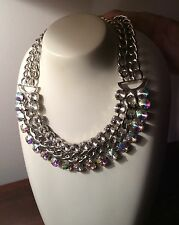 Chunky Silver Diamanté And Crystal Look Statement  Necklace