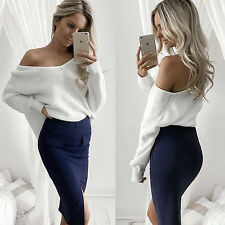 Womens Ladies Casual Off Shoulder Knit Knitted Oversize Baggy Sweater Jumper Top