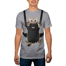 Men's Funny Kitty Cat Baby Carrier MEOW XL T-Shirt Tee Comical Humor Gray NEW