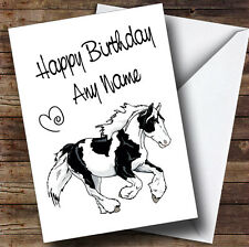 Piebald Gypsy Vanner Cob Horse Personalised Birthday Card