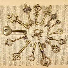 15PCS VINTAGE BRASS SET OF KEYS Retro Pendant  Jewelry Accessories New ZXF