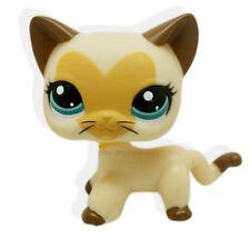 #3573  Littlest Pet Shop Cream Tan Brown Short Hair Cat Kitty Heart Face LPS