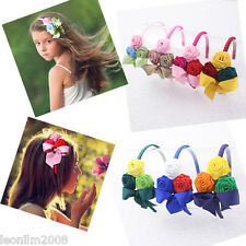 Wholesale 7pc three-rose Girl hair Headband Hair Bow Clip Accessories B005-1-7-A