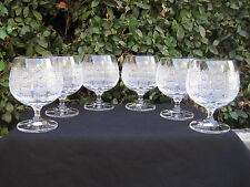 VINTAGE BOHEMIA QUEEN LACE HAND CUT 24% LEAD CRYSTAL BRANDY GLASS  8.5 OZ 6 PC