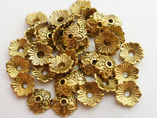 50 X Oro Antiguo Tibetana Estilo Casquillas endbeads 8mm Lf, Craft Supplies