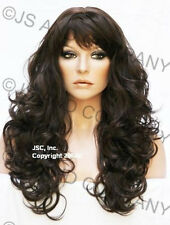 Long Wavy Layered Curly Chestnut Brown Wig Skin top WACA 6