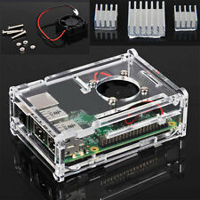 Protective Acrylic Enclosure Case +Cooling Fan + 3x Heatsink For Raspberry Pi B+