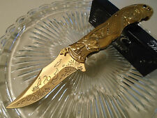 Master Collection Ballistic Assisted Gold Chrome Mermaid Pocket Knife MC-A013GD