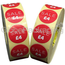 6000 x 'SALE £4' Retail Self Adhesive Red Shop Price Labels Stickers 35mm