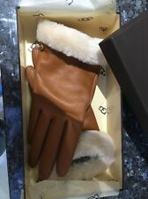 Ugg Tan Leather Gloves w/ Fur Trim - Boxed BN RRP £90