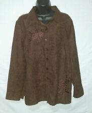 Christopher Banks Brown Shirt Top Embellished Polyester Suede size L NWT