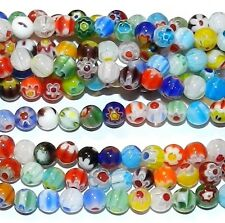 """G1810L2 Assorted Multi-Colored Flower 6mm Round Millefiori Glass Beads 14"""""""