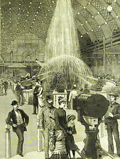 Upham Philadelphia ELECTRICAL EXPOSITION Illuminated Fountain 1884 Print Matted
