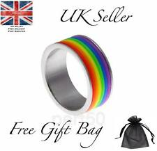 Quality Gay Lesbian Pride LGBT Rainbow Ring UK Stainless Steel Present Gift US9