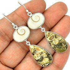 Turtella Jasper & Shiva Eye 925 Sterling Silver Earrings Jewelry SE130466
