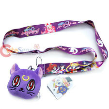 Sailor Moon Lanyard with Luna Plush Doll Key Chain ID Holder Cell Phone Charm