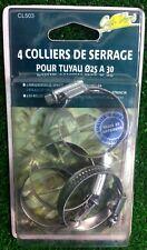 Colliers de serrage pour tuyau de 25 a 30 mm le lot de 4 sous blister