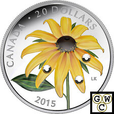 2015 Black-Eyed Susan Colored w. Crystal Proof $20 Silver Coin 1oz.9999 (17320)