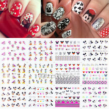 12 Sheets Mickey Minnie Cartoon Mouse Water Nail Transfer Nail Art Sticker Decal