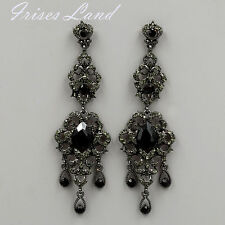 New Alloy Black Crystal Rhinestone Chandelier Drop Dangle Earrings 06222