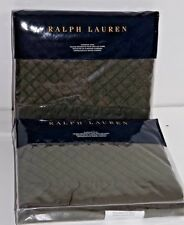 Ralph Lauren WYATT Tweed Green Euro Pillow Sham PAIR Wilton Rose Frazier