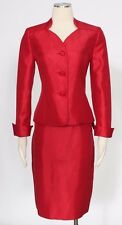 Le Suit Crimson Red Skirt Suit Size 6P Casual Satin Polyester Women's New*