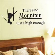 Huhome PVC Wall Stickers Wallpaper English Mountain skiing bed bedroom decor can