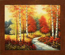 Autumn Park Red Birch Trees River Fall Sunset Landscape Art FRAMED OIL PAINTING