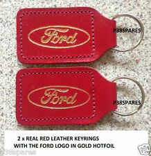 2X FORD LEATHER KEY FOB RING BMAX TRANSIT CONNECT ESCORT ECOSPORT KUGA MONDEO,