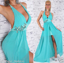 SEXY BACKLESS MAXI DRESS IN TURQUOISE GREEN WITH FLOWERS.ONE SIZE; 8/10/12.