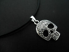 "A LADIES BLACK LEATHER CORD 13 - 14"" CHOKER SKULL THEMED NECKLACE. NEW."