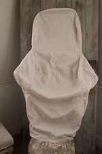Antique French CHAIR SLIP COVER slipcover wingback / slipper chair fabric old ~~