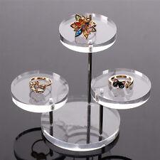3 Trays Acrylic Jewelry Display Shelf Earring Bracelet Necklace Holder Organizer